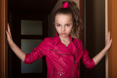 Closeup portrait little girl in glam rock style Royalty Free Stock Photography