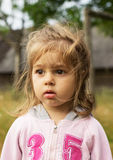 Closeup portrait of a little girl outdoors royalty free stock photos