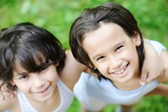 Closeup portrait of a little kid. Closeup portrait of a little happy boy outside stock photos