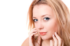 Closeup portrait of a lovely young blonde Royalty Free Stock Image