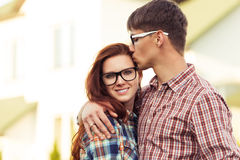 Closeup portrait lovely young couple Stock Image