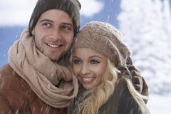 Closeup portrait of loving couple at wintertime Royalty Free Stock Images