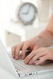 Closeup portrait of male hands typing Royalty Free Stock Images