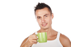 Closeup portrait of man with cup. Closeup portrait of smiled sexy man with cup,isolated on white,caucasian attractive man with mug Stock Photography