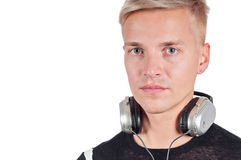 Closeup portrait of man with headphones Stock Image