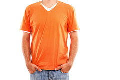 Closeup portrait of  a man in orange t-shirt Stock Photography