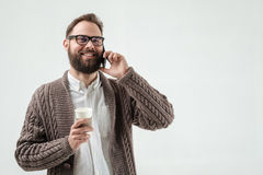 Closeup portrait of man phone and coffee Stock Photo