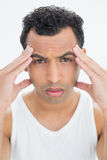 Closeup portrait of a man suffering from headache Stock Images