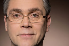 Closeup portrait of man wearing glasses. Stock Photos