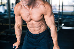 CLoseup portrait of a man workout on bars Royalty Free Stock Images