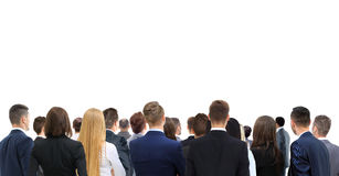 Closeup portrait of many men and women looking upwards  standing Royalty Free Stock Images