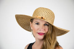 Closeup Portrait Mature Blonde Female in Hat and Black Top stock photo