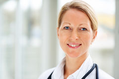 Closeup portrait of a mature female doctor Stock Photography