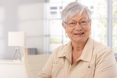 Closeup portrait of mature woman Stock Photos