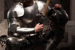 Closeup portrait of medieval armor Stock Photo