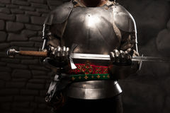 Closeup portrait of medieval knight in armor Royalty Free Stock Images