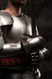 Closeup portrait of medieval knight in armor Royalty Free Stock Image