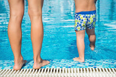 Closeup portrait of a mother and child legs Stock Photo
