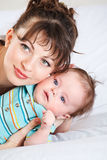 Closeup portrait of mum and baby Royalty Free Stock Image