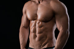 Closeup portrait of a muscular male chest Stock Photo