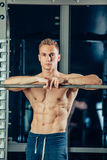 Closeup portrait of a muscular man workout with Royalty Free Stock Photos
