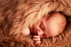 closeup portrait of newborn baby sleeping face with hand under cheek Stock Photo