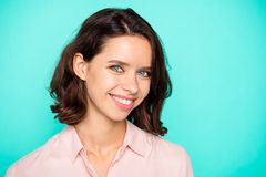 Closeup portrait of nice cute pretty charming attractive positiv stock photos