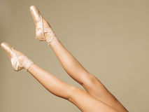 Closeup Portrait Of A Dancer In Ballet Shoes Dancing In Pointe Royalty Free Stock Photo
