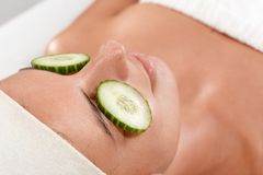 Free Closeup Portrait Of Woman With Cucumber On Eyes Stock Photo - 25118140