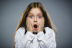Free Closeup Portrait Of Wondering Girl Going Surprise On Gray Background Royalty Free Stock Image - 72300196