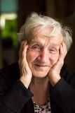 Closeup portrait of an old happy grandmother. Stock Photography