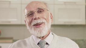 Closeup Portrait Of Old Man Emotions. stock video