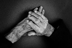 Closeup of an old man's hands Royalty Free Stock Images