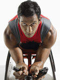 Closeup Portrait Of Paraplegic Cycler Stock Photos