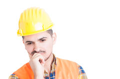 Closeup portrait of pensive or meditative engineer finding a sol Royalty Free Stock Photos