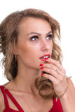 Closeup portrait of pensive woman isolated on white Royalty Free Stock Photos