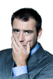 Closeup portrait of a pensive worried businessman Royalty Free Stock Images