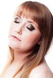 Closeup portrait picture woman Stock Photos