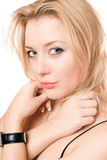 Closeup portrait of a playful attractive blonde Stock Photography