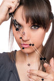 Closeup portrait of pretty brunette with a beads Royalty Free Stock Photography
