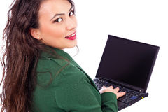 Closeup portrait of a pretty businesswoman with  laptop, smiling Royalty Free Stock Image