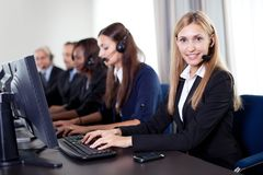 Closeup portrait of pretty customer care operator Stock Photo
