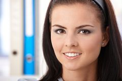 Closeup portrait of pretty girl smiling Stock Photo