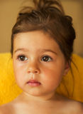 Closeup Portrait of cute adorable little girl look Royalty Free Stock Photography