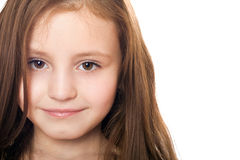 Closeup portrait of pretty little girl. Isolated Stock Photo