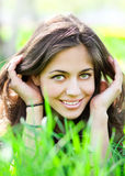 Closeup portrait of pretty tender beautiful young female face Stock Photos