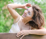 Closeup portrait of pretty tender beautiful young female face Royalty Free Stock Images
