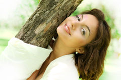 Closeup portrait of pretty tender beautiful young female face Stock Images