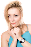 Closeup portrait of pretty young blonde Royalty Free Stock Images