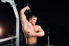 Closeup portrait of professional bodybuilder Strong muscular yang man doing exercise. Workout with barbell at gym Royalty Free Stock Photos
